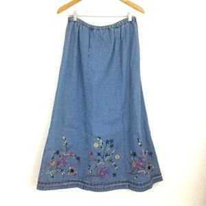 Denim & Co. Floral Embroidered A-Line Midi Skirt